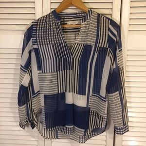 LOFT Black and Blue Geometric Sheer Blouse
